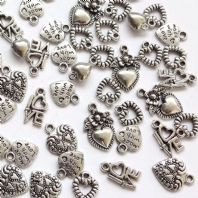 50 Assorted Heart Tibetan Silver Charms 12-25mm